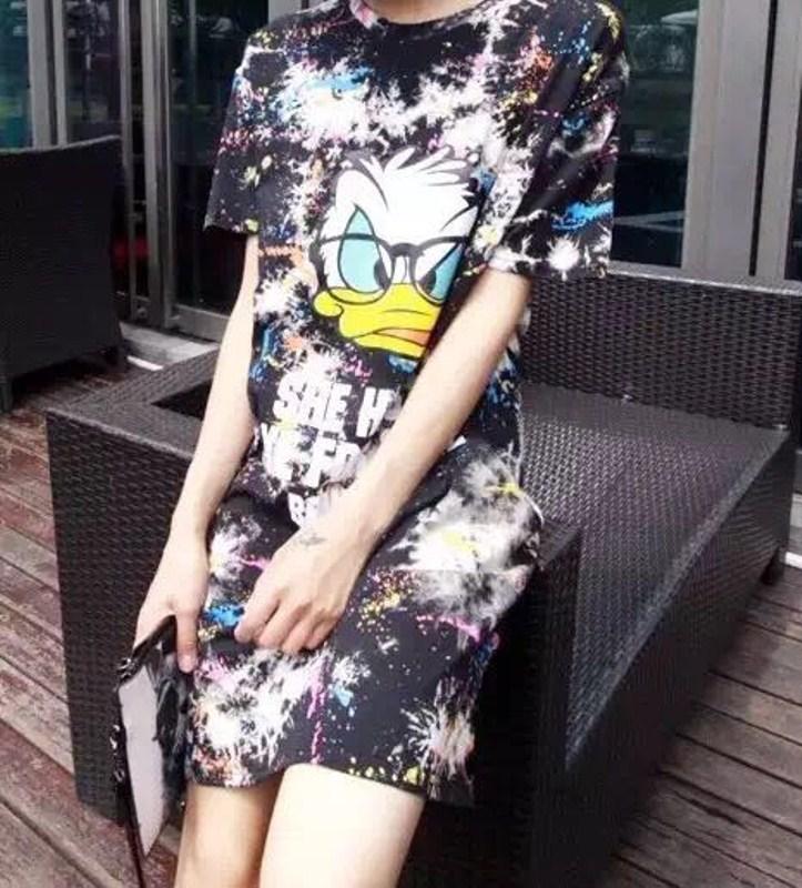 菲卖品2015夏新款 女士 半身短裙 印花 卡通 短袖
