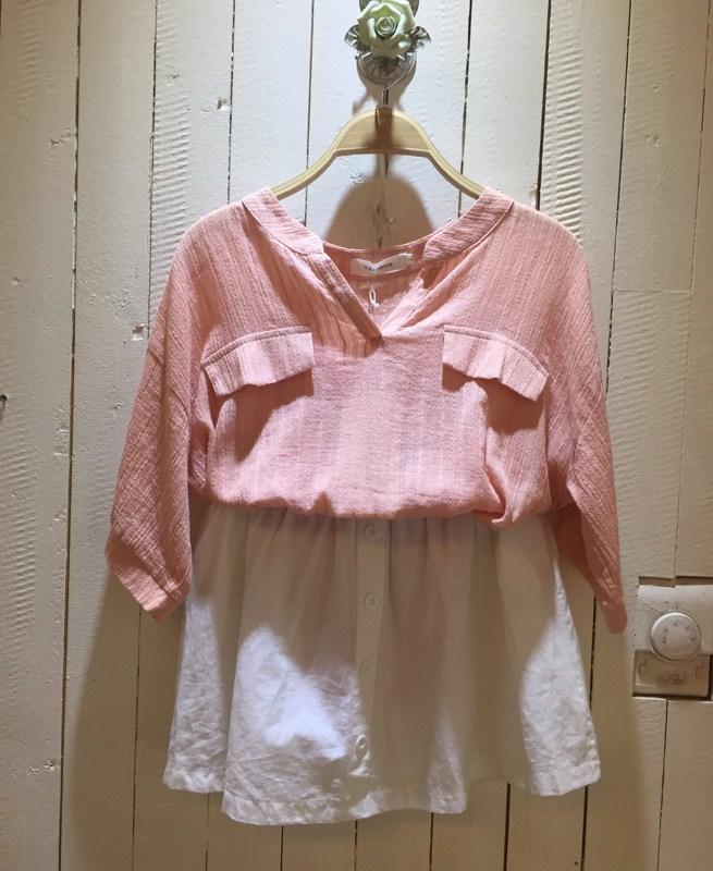 夏沫 2015夏新款 粉红色 女士 亚麻 雪纺衫 v领