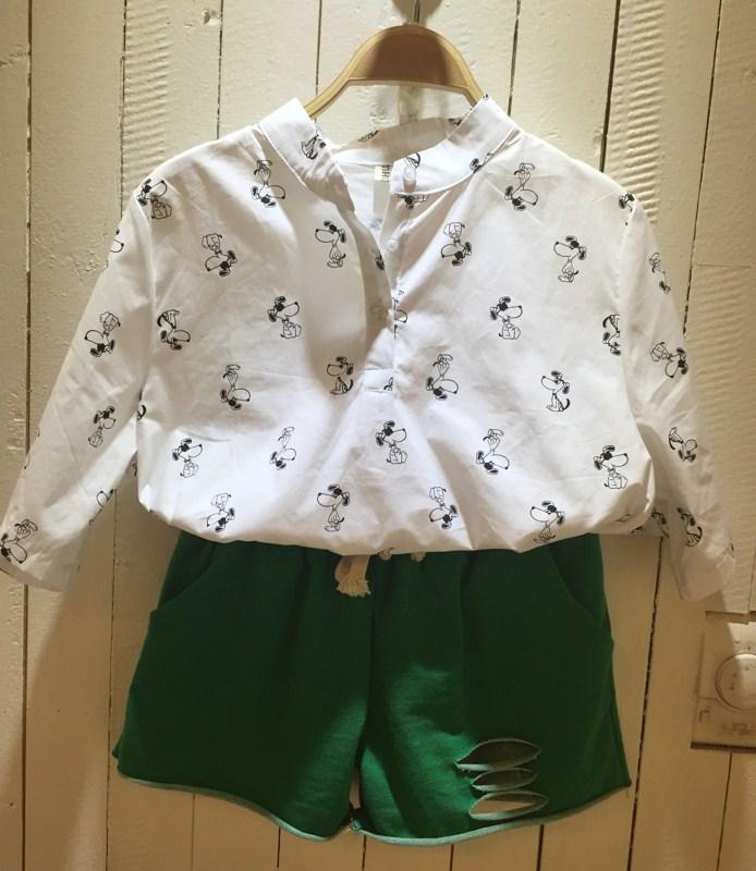 夏沫 2015夏 白色 卡通印花 女士 雪纺衫 v领 短袖