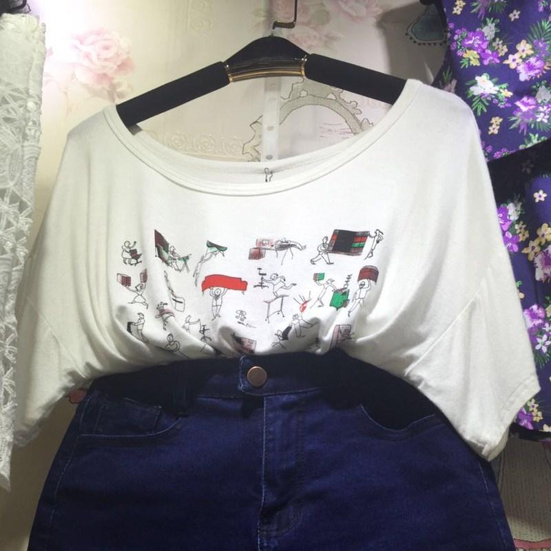 mqueen魅女王2015夏新款 女士 白色 印花 圆领 短袖