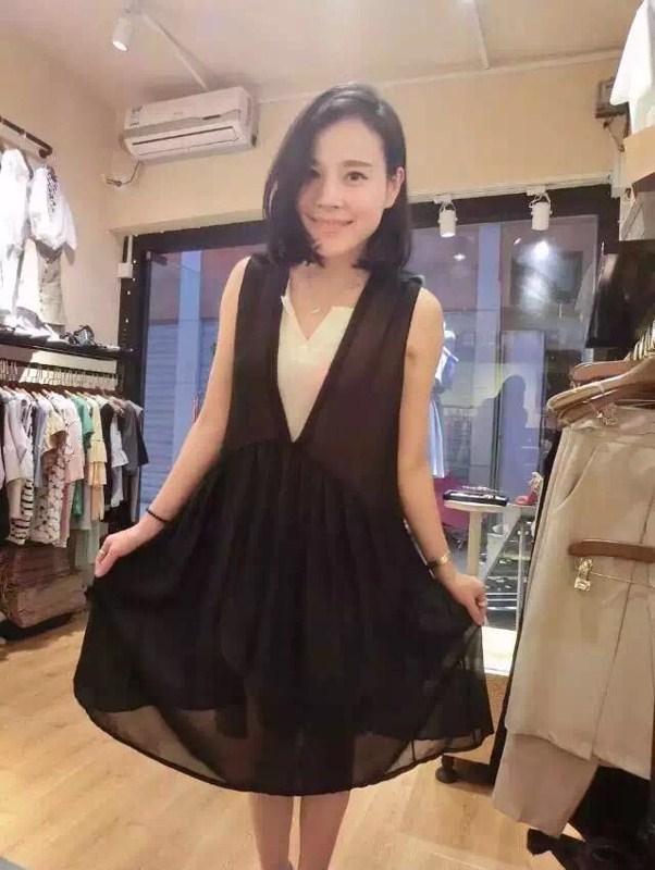 muqeen魅女王 2015夏 新款 女士 连衣裙 黑色