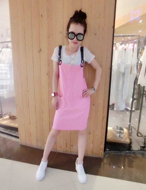 魅族风暴2015夏新款 粉色 背带 连衣裙 女士